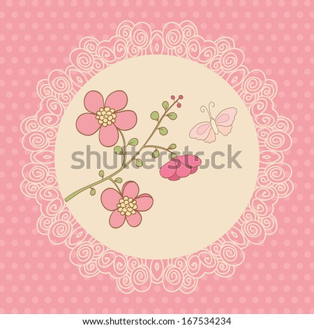 Cute card with pink flowers and butterfly. Pink background, polka dot and white lace frame. Ideal for scrap booking, celebration card, invitation. - stock photo