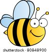 Cute Cartoon Bee.Raster illustration . Vector version is also available - stock vector