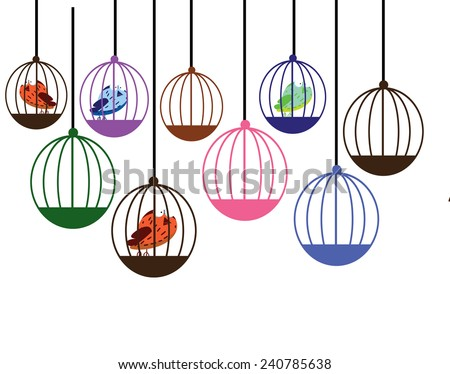 Cute cartoon birds in their cages. A funny and cute cartoon illustration of a some birds in their cages. - stock photo