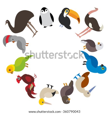 Cute Cartoon birds set - gannet penguin ostrich toucan parrot eagle booby cock, round frame on white background, card design, banner for text.