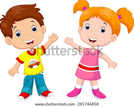 Cute cartoon boy and girl - stock photo
