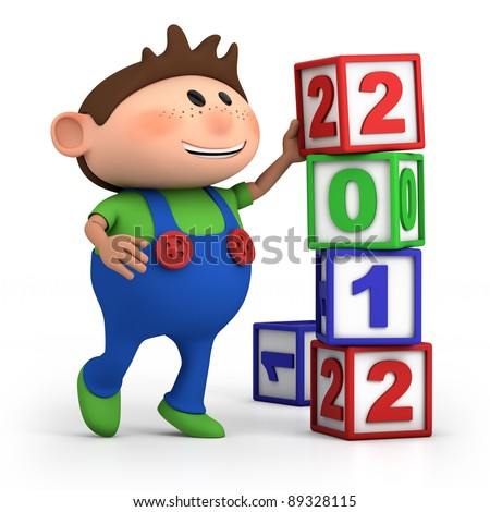 cute cartoon boy stacking 2012 number blocks - high quality 3d illustration - stock photo