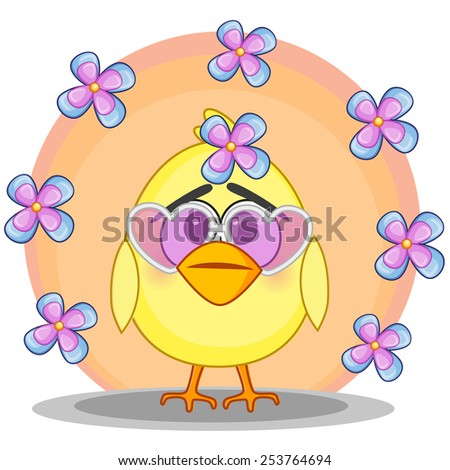 Cute cartoon chicken with flowers - stock photo