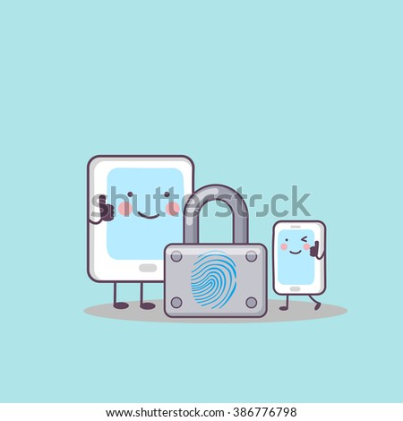 cute cartoon digital tablet pc and phone with fingerprint lock, great for your technology concept design - stock photo