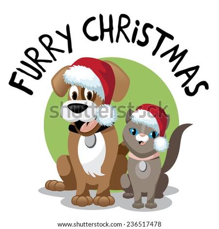 Cute cartoon dog and cat furry Christmas  - stock photo