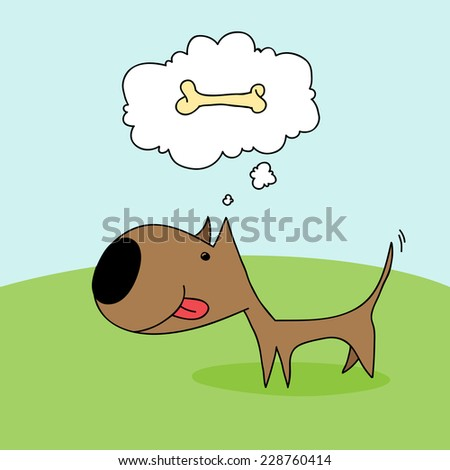 Cute cartoon dog wagging his tail and thinking about a bone. - stock photo