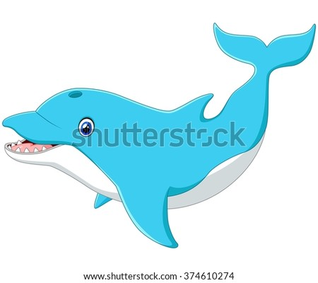 Cute cartoon dolphin - stock photo