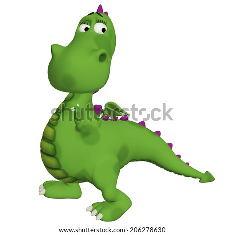 cute cartoon dragon, isolated on the white background