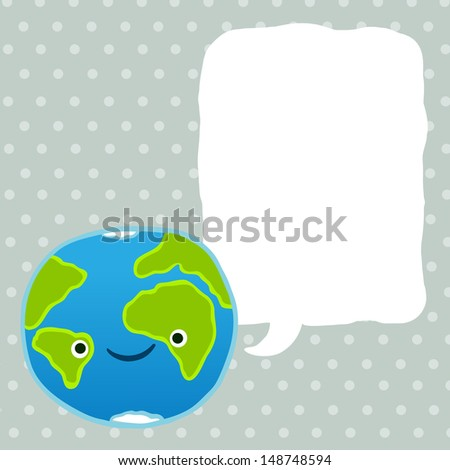 cute cartoon Earth character with speech bubble. raster illustration - stock photo
