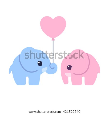 Cute cartoon elephant couple. Elephant boy and girl with heart shaped balloon. Valentines day greeting card illustration.  - stock photo
