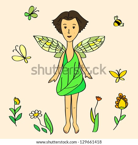 Cute cartoon fairy girl wearing green dress composition. Raster copy, vector file also available - stock photo