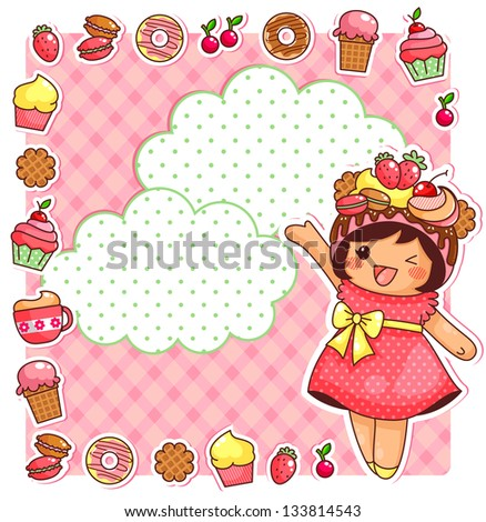 cute cartoon girl and a collection of sweets (vector available in my gallery)