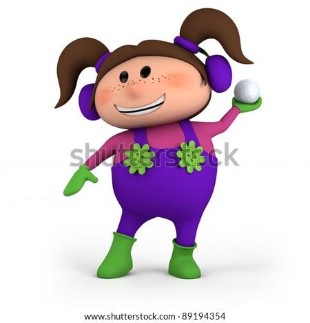cute cartoon girl throwing snowball - high quality 3d illustration - stock photo