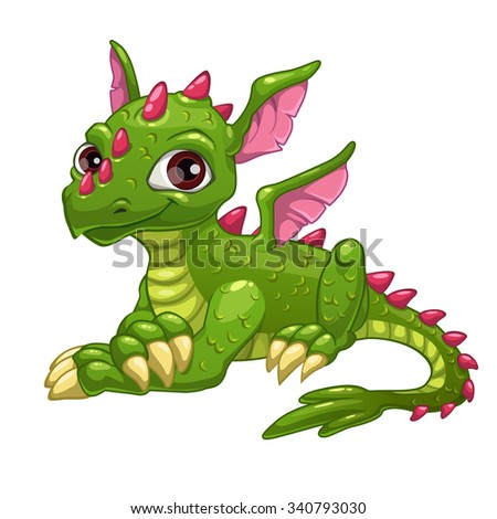 Cute cartoon green dragon, isolated illustration