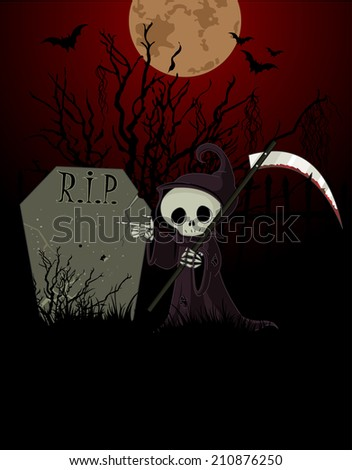 Cute cartoon grim reaper with scythe pointing to tombstone - stock photo