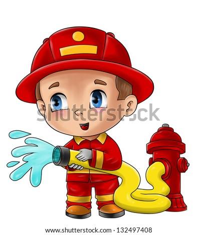 Cute cartoon illustration of a fireman - stock photo