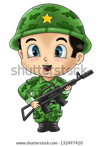 Cute cartoon illustration of a soldier - stock photo