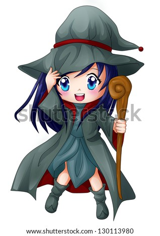Cute cartoon illustration of a witch - stock photoCute Cartoon Witch