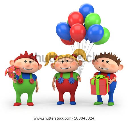 cute cartoon kids with birthday presents - high quality 3d illustration - stock photo