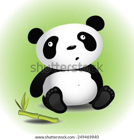 Cute cartoon little panda sitting with bamboo branch