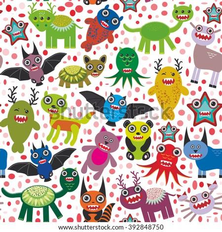 Cute cartoon Monsters seamless pattern  white background.  - stock photo