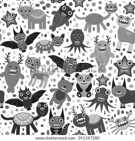 Cute cartoon Monsters Set. seamless pattern on white background.  - stock photo