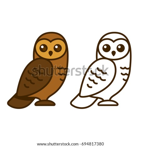 Cute Cartoon Owl Illustration Color Drawing And Line Art