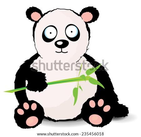cute cartoon panda.a cute panda sitting on the ground eating some bamboo leaves. - stock photo