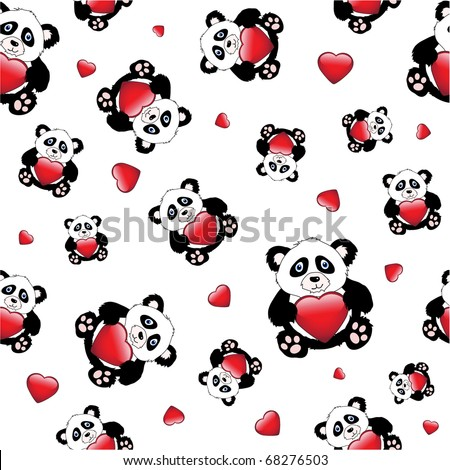 Cute cartoon pandas holding a glossy hearts. isolated on white. Also available in vector format. Seamless pattern. - stock photo