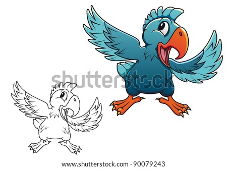 Cute cartoon parrot isolated on white background. Vector version also available in gallery - stock photo