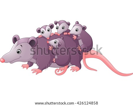 cute cartoon possum with childs - stock photo