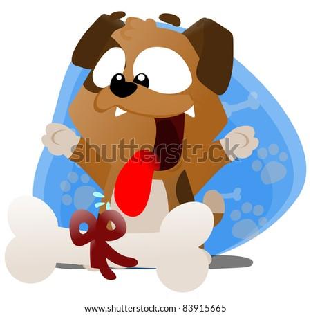 Cute Cartoon Puppy - stock photo