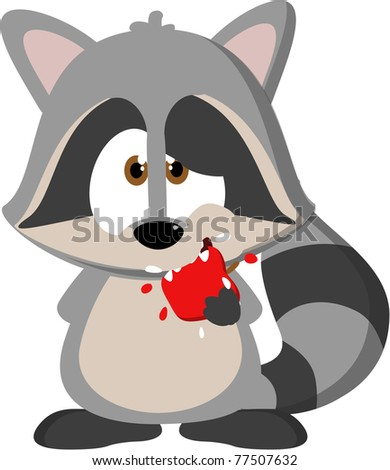 Cute cartoon raccoon eating and apple