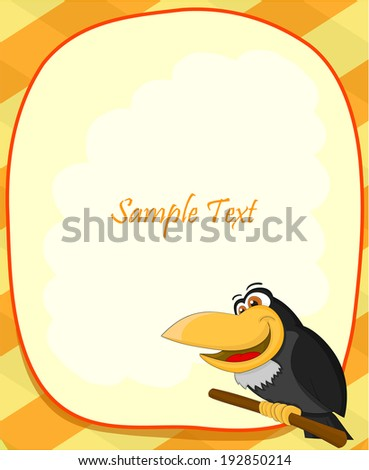 Cute cartoon raven with frame  - stock photo