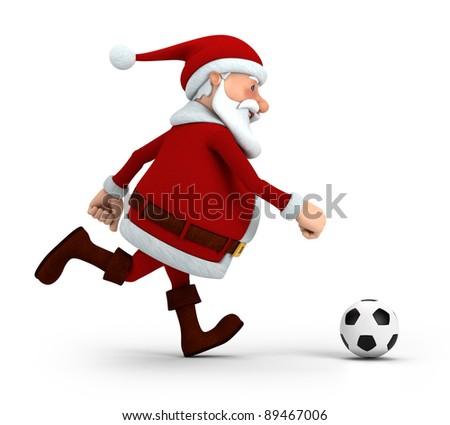 cute cartoon santa claus playing soccer - high quality 3d illustration - stock photo