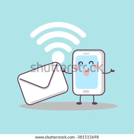 cute cartoon smart phone with email and wifi icon, great for technology concept - stock photo