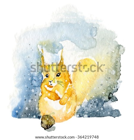 Cute cartoon Squirrel holding acorn. Curious Squirrel Watercolor Illustration Hand Painted. Squirrel with a nut. Hand drawn. Watercolor illustration. Squirrel with a nut.  - stock photo