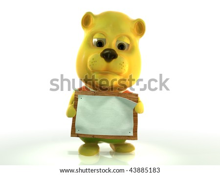 Cute cartoon teddy bear with blank board