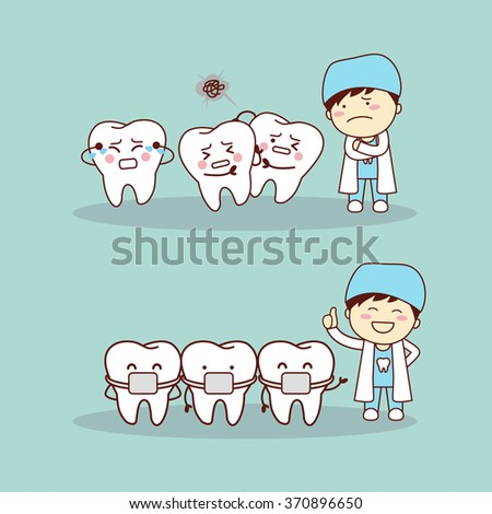 cute cartoon tooth braces with dentist doctor, great for health dental care concept - stock photo