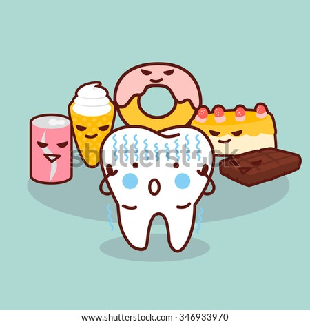 cute cartoon tooth cavity, great for health dental care concept - stock photo