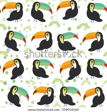 Cute Cartoon toucan birds set on white background, seamless pattern.