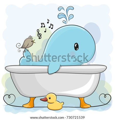 Cute Cartoon Whale In The Bathroom