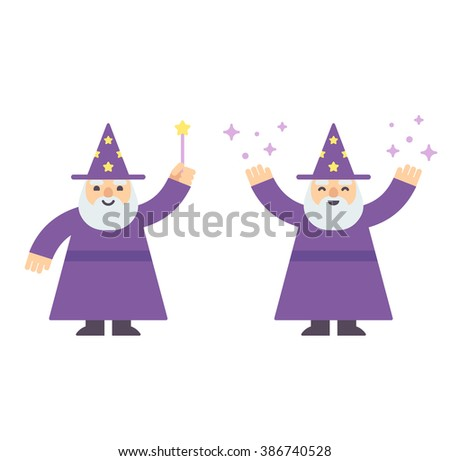 Cute cartoon wizard with magic wand and casting spell. Modern flat style illustration.  - stock photo