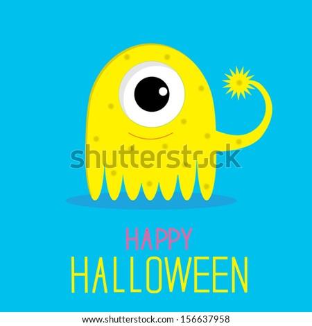 Cute cartoon yellow monster girl. Happy Halloween card. Rasterized copy - stock photo