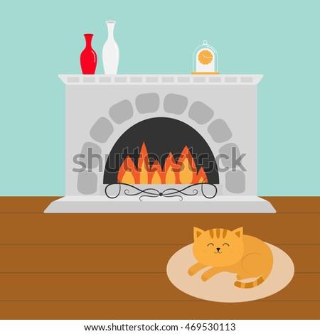 Cat Fireplace Stock fotos, billeder til fri afbenyttelse og ...