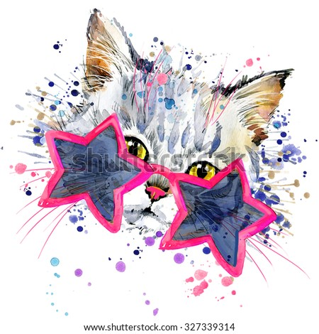 Cute Cat  T-shirt graphics, cat illustration with splash watercolor textured background. illustration watercolor cat fashion print, poster for textiles, fashion design - stock photo