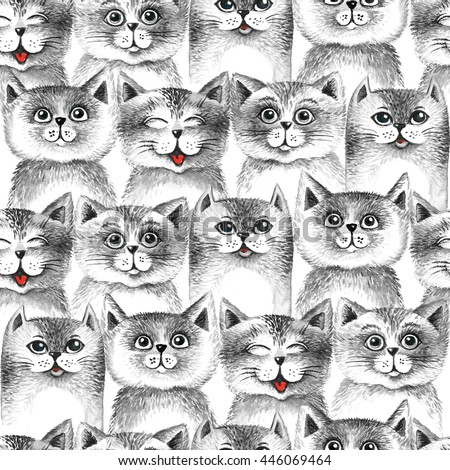 Cute cats seamless pattern background