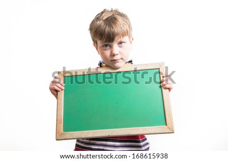 Cute Caucasian Boy Holding Blank Chalkboard Isolated on a White Background. - stock photo