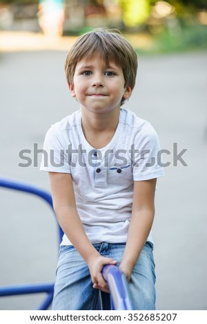 Cute  Caucasian  boy  playing on  playground outside in the summer sun.