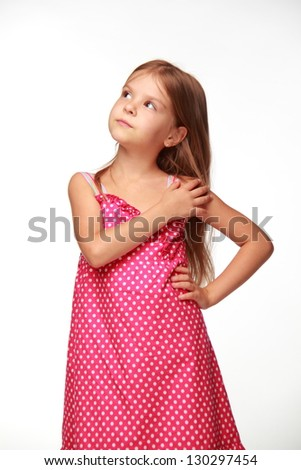 Cute cheerful child with long blond hair - stock photo